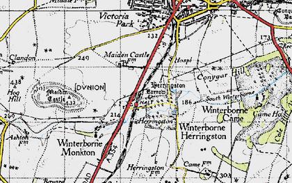 Old map of Winterborne Herringston in 1945