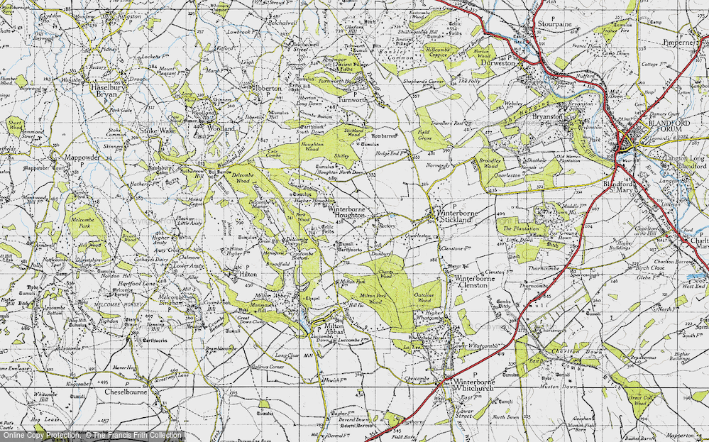 Old Map of Winterborne Houghton, 1945 in 1945