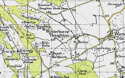 Old map of Winterborne Houghton in 1945