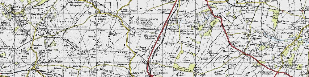 Old map of Winterborne Monkton in 1945