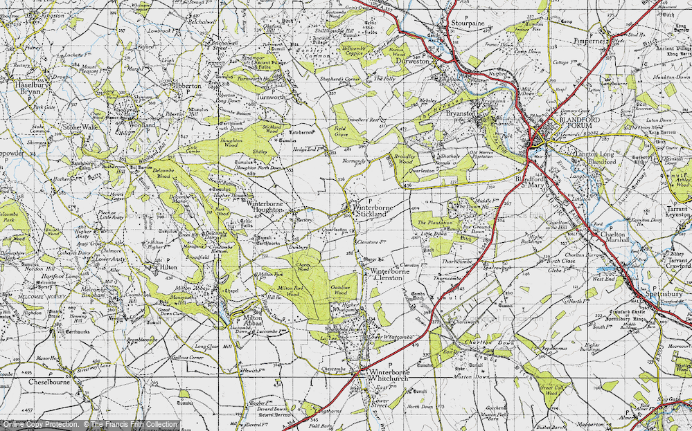 Old Map of Winterborne Stickland, 1945 in 1945