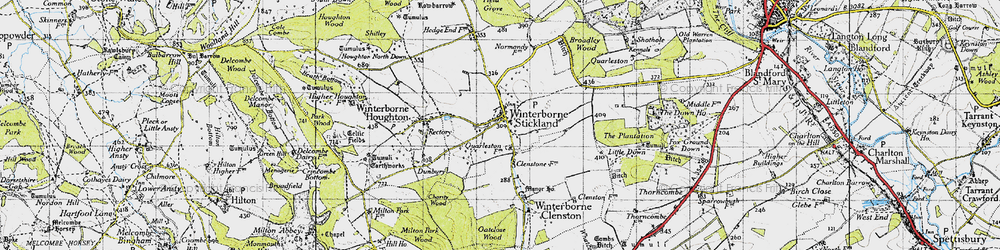 Old map of Winterborne Stickland in 1945