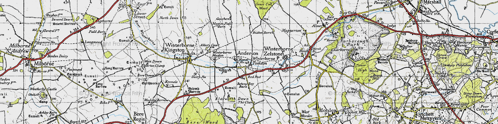Old map of Anderson Manor in 1945