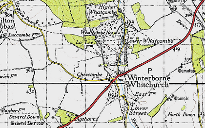 Old map of Winterborne Whitechurch in 1945