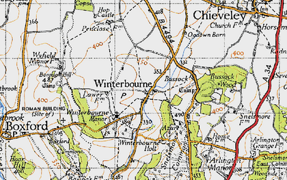 Old map of Winterbourne in 1945