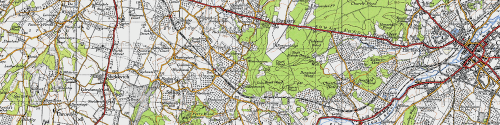 Old map of Winterbourne in 1946
