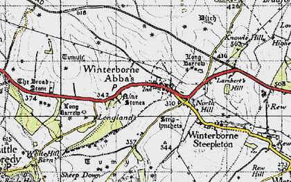 Old map of Winterbourne Abbas in 1945