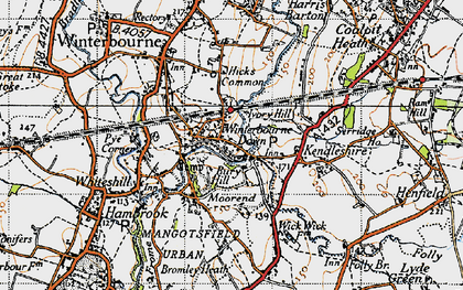 Old map of Winterbourne Down in 1946