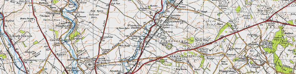 Old map of Winterbourne Earls in 1940