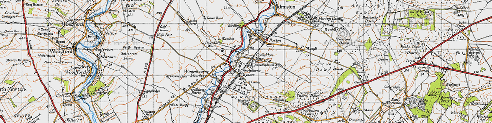 Old map of Winterbourne Gunner in 1940
