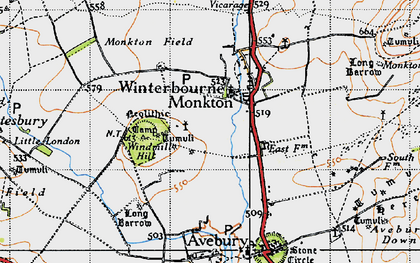 Old map of Avebury Manor in 1940