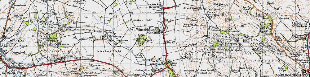 Old map of Winterbourne Monkton in 1940