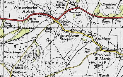 Old map of Winterbourne Steepleton in 1945