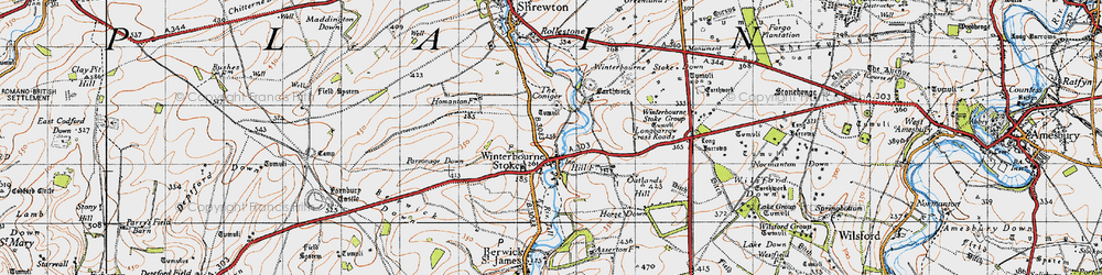Old map of Winterbourne Stoke in 1940