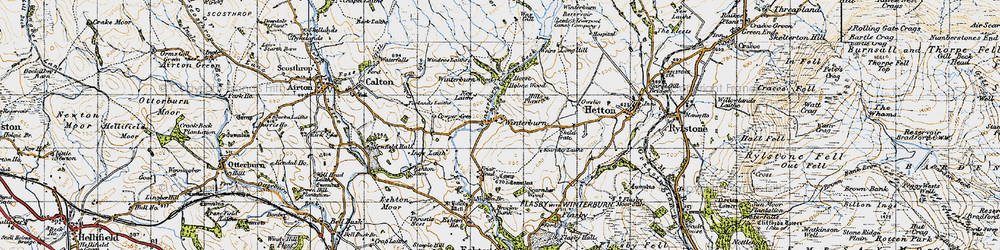 Old map of Yorkshire Dales Cycle Way in 1947