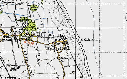 Old map of Winterton Dunes (Nature Reserve) in 1945
