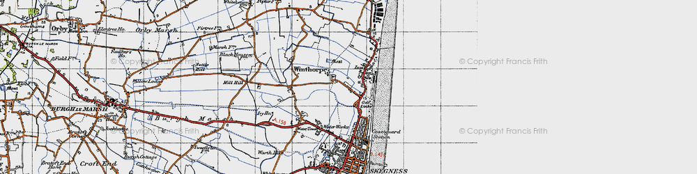 Old map of Winthorpe in 1946