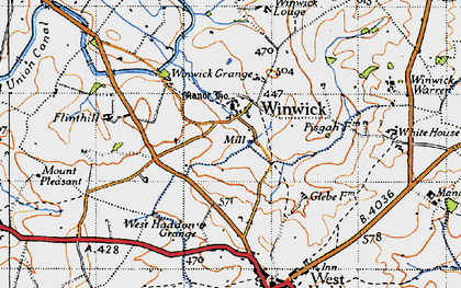 Old map of Winwick Lodge in 1946