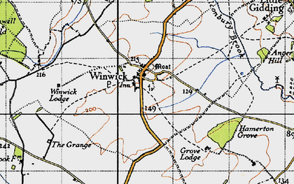 Old map of Winwick in 1946