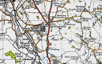 Old map of Winwick in 1947