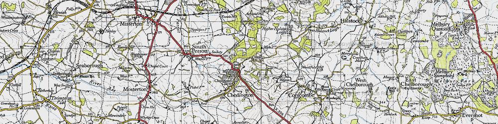 Old map of Winyard's Gap in 1945