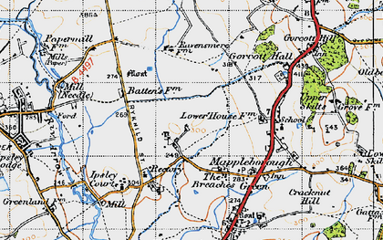 Old map of Winyates in 1947