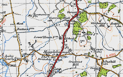 Old map of Winyates Green in 1947