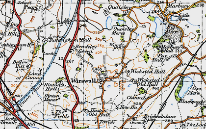 Old map of Wicksted Old Hall in 1947