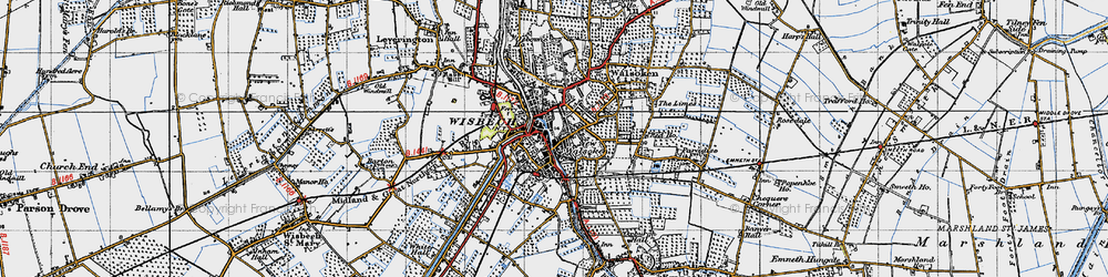 Old map of Wisbech in 1946