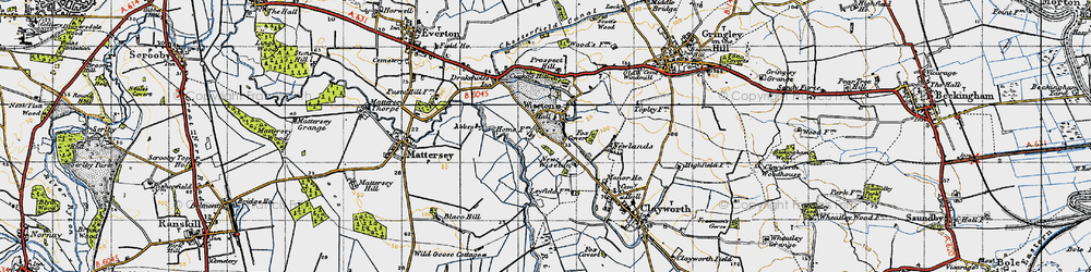 Old map of Wiseton in 1947