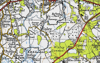 Old map of Wisley in 1940