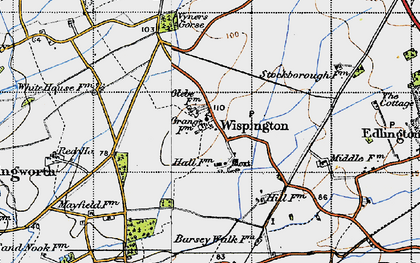 Old map of Wispington in 1946