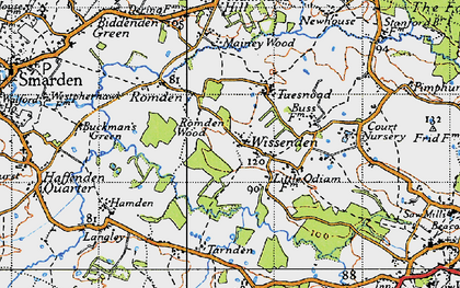 Old map of Wissenden in 1940