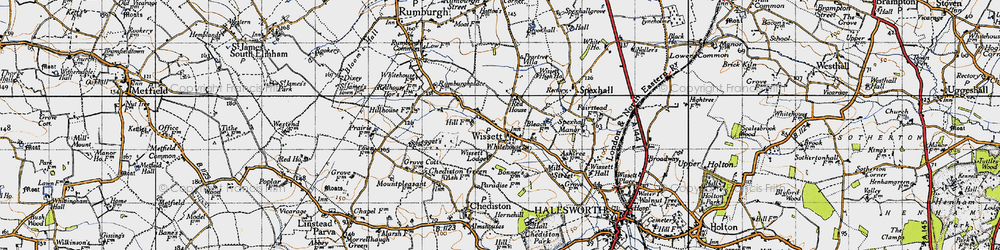 Old map of Wissett Lodge in 1946