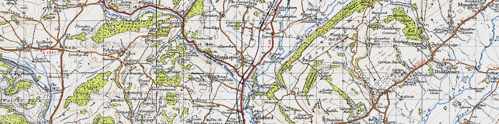 Old map of Wistanstow in 1947