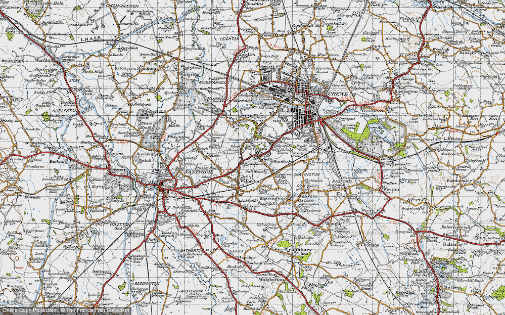 Old Map of Wistaston, 1947 in 1947