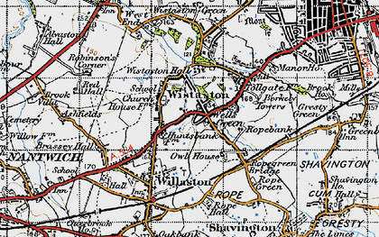 Old map of Wistaston in 1947