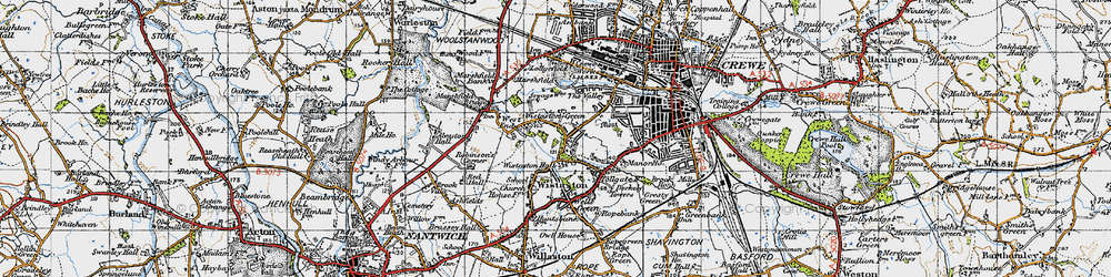 Old map of Wistaston Green in 1947