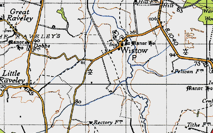 Old map of Wistow in 1946