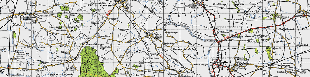 Old map of Wistow in 1947