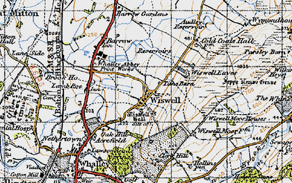 Old map of Wiswell Moor Houses in 1947