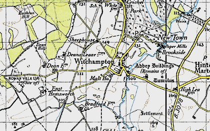 Old map of Witchampton in 1940