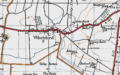 Old map of Witchford in 1946