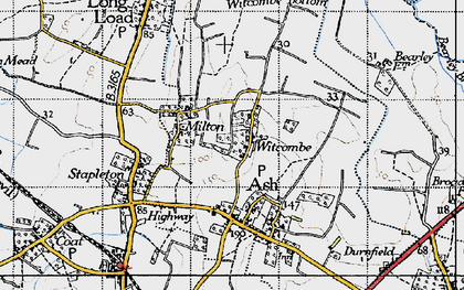 Old map of Witcombe in 1945