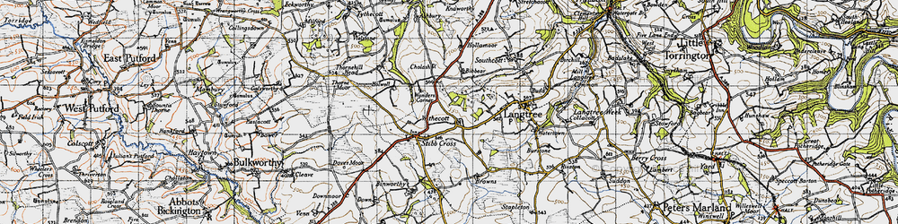 Old map of Withacott in 1946