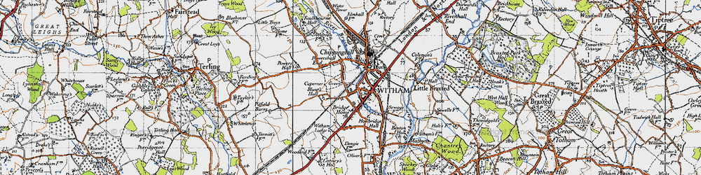 Old map of Witham in 1945