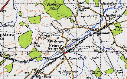 Old map of Witham Friary in 1946