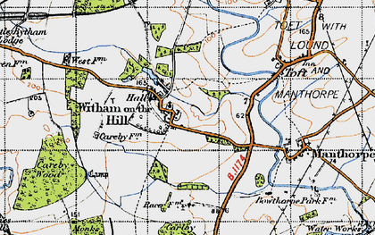 Old map of Witham on the Hill in 1946