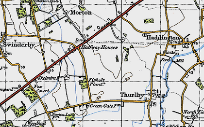 Old map of Witham St Hughs in 1947