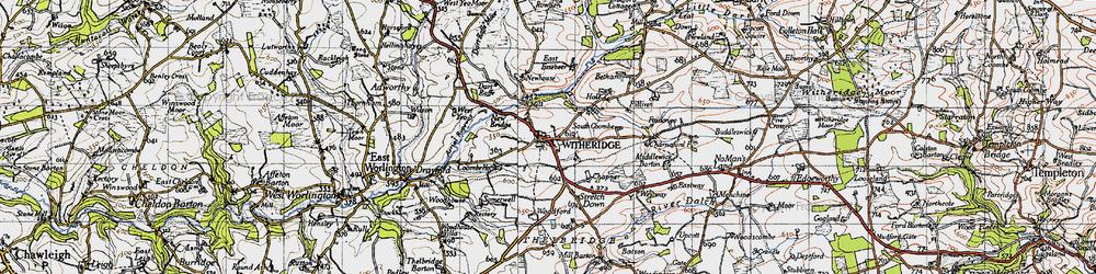 Old map of West Yeo Moor in 1946